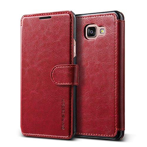 URCOVER Custodia Portafoglio Samsung Galaxy A5 2016   Protettiva Flip Cover Elegante Wallet Case Dandy Layered VRS Design   Guscio Rigido e rivestimento in Vera Pelle Vinaccio / Nero