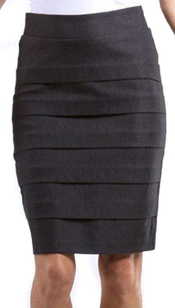 Knee Length Tiered Sleek Stretch Skirt