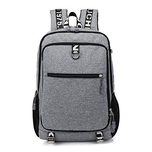 Mochila para ordenador portátil USB de marca hombres y mujeres, multifunción, para estudiantes de ocio, viajes (gris claro, azul oscuro, gris negro)