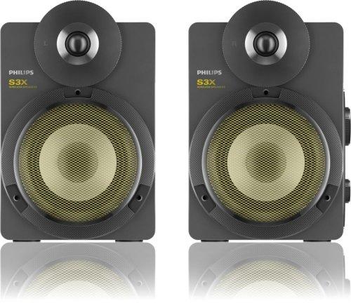 Philips BTS3000G/10 S3X Kabellose Studio-Lautsprecher mit Bluetooth (30 W RMS, aptX, AAC, Bassreflex-System), grau