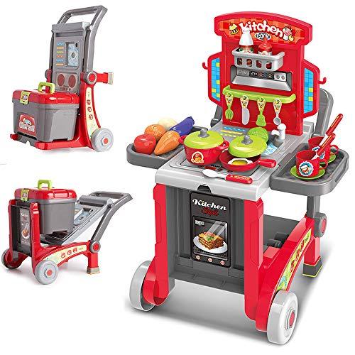 BAKAJI Cucina Giocattolo per Bambini 3in1 Richiudibile in Trolley e Carrello con 29 Accessori Gioco pentole e Padelle