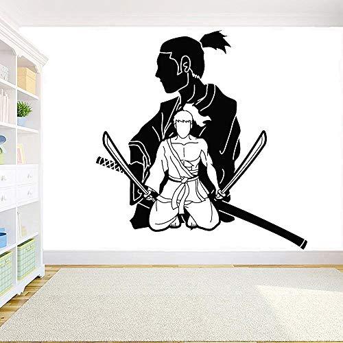 Adesivo da parete in vinile Samurai Oriental Marzial Arts Japanese Warrior Wall Stickers per la casa ragazzi carta da parati 57X59cm