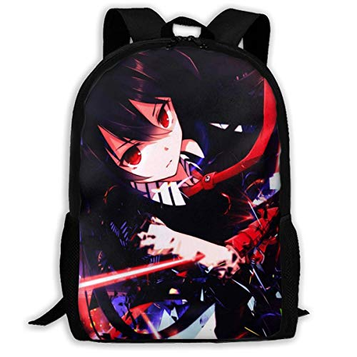 AOOEDM Mochila Anime Akame Ga Kill Mochila de Viaje Laptop Bookbag Capacidad Ligero Papelería Bolso para niñas Niños Colegio Escuela Mujeres Hombres Oficina