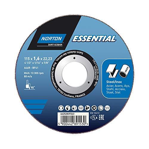 Norton Essential METALL INOX 115x1,6x22,23 Trennscheibe Typ 41, gerade für Winkelschleifer