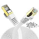 Veetop Cable Ethernet 20 metros Cat 7 Lan de Red con Conectores Rj45 Oro Plano, Velocidad 10 Go/s Blanco
