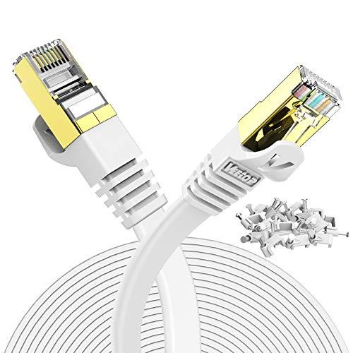 Veetop Cavo Ethernet 30 Metri LAN di Rete Cat 7 Cavi Internet RJ45 Piatto, Velocità 10 Gigabits/s (30m, Bianco)