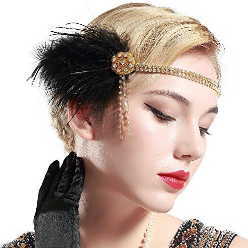 ArtiDeco 1920s Vintage Hoofdband Roaring 20s Flapper Hoofdstuk met Veer 1920s Grote Gatsby Kostuum Accessoires Zwart