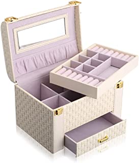 Fashion Jewelry Storage Bins Large Capacity Portable Woven Pattern Jewelry Box,Beige