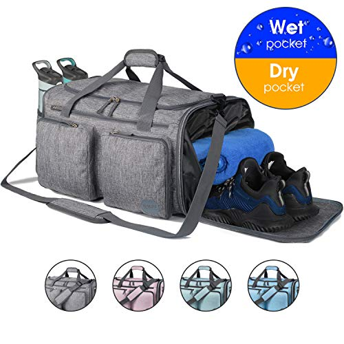 Foldable Sports Gym Bag with Wet Bag & Shoes Compartment, Travel Duffel for Men and Women (Light Grey)