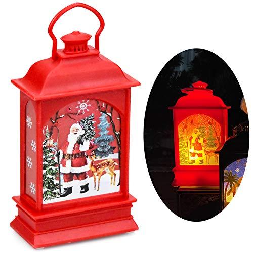 FEIGO Weihnachtslaterne Weihnachtsmann, Rot Laterne mit LED für Hochzeit, Party, Deko, Weihnachten (7x12,5cm)