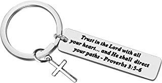 Christian Keychain Gifts Faith Keychain Stainless Steel Enlighten The Mind & Empower the Spirit,Charm Religious Jewelry Ch...