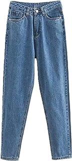 N\P Otoño Invierno Algodón De Longitud Completa Bolsillos De Talle Alto, Jeans Regular Mujer Denim Jeans Femenino