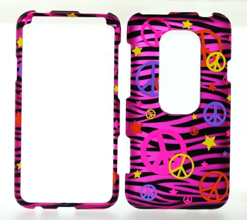 Colorful Peace Sign on Hot Pink Zebra Strips Rubberized Snap on Hard Protective Cover Case for HTC EVO 3D