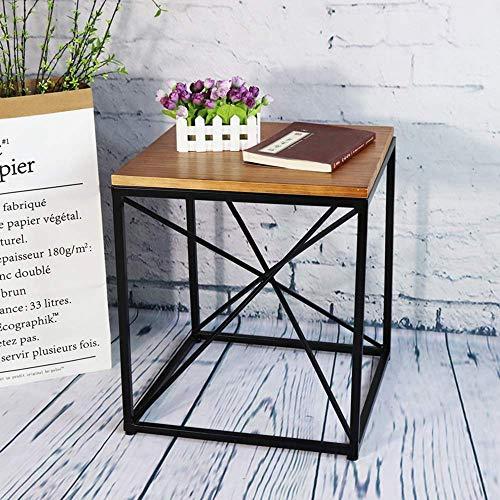 Home&Selected furniture/bijzettafel, bijzettafel, salontafel, met metalen frame, voor woonkamer, slaapkamer, keuken, marmeren plaat, massief houten strijkijzer tabletop (kleur: ijzer tafelblad