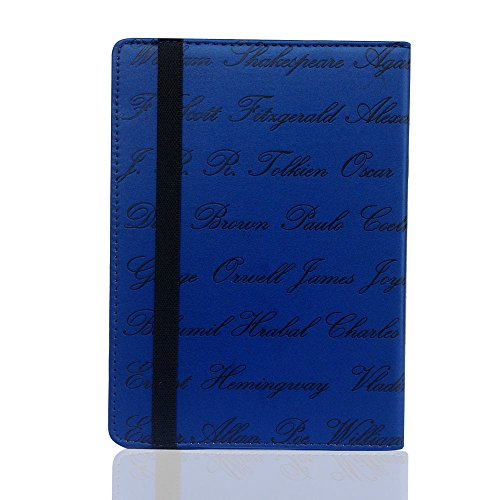 Universal 6inch Ereader Book Style Case Cover Relieve Autor Nombre para Kobo Pockbook sony kindle 6inch ereader azul