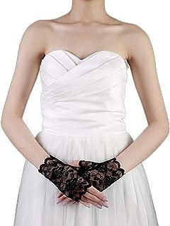 Women's Short Gloves Lace Wrist Half Hand Gloves for Wedding