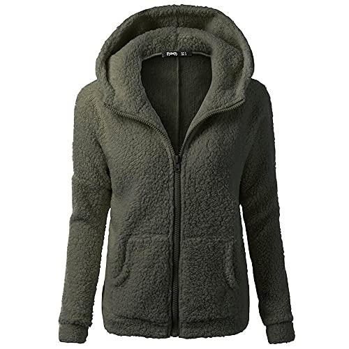 Sudadera con capucha de forro polar para mujer, clida y ligera, con bolsillos, Wancooy, Ejercito Verde, S
