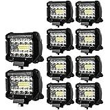 【HIKARI独占販売】 LED作業灯 ワークライト 60W OSRAM製チップを凌ぐ 5800LM led投光器 IP67 防水 防塵 トラック 集魚灯 前照灯 12V/24V兼用 広角 拡散 投光&集光両立 一年保証 10個セット「A-GL-C3Sx10」