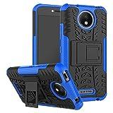 Sunrive Hülle Für Lenovo Moto C Plus, Tasche Schutzhülle Etui Hülle Cover Hybride Silikon Stoßfest Handyhülle Hüllen Zwei-Schichte Armor Design schlagfesten Ständer Slim Fall(blau)