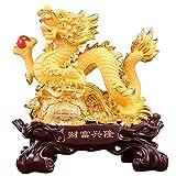 J.Mmiyi Dragon Chino Figura Estatua Decoracion, Feng Shui Paseo del Dragón En Bolsa De La Suerte Escultura, Ornamento para La Suerte Y El Éxito,Oro