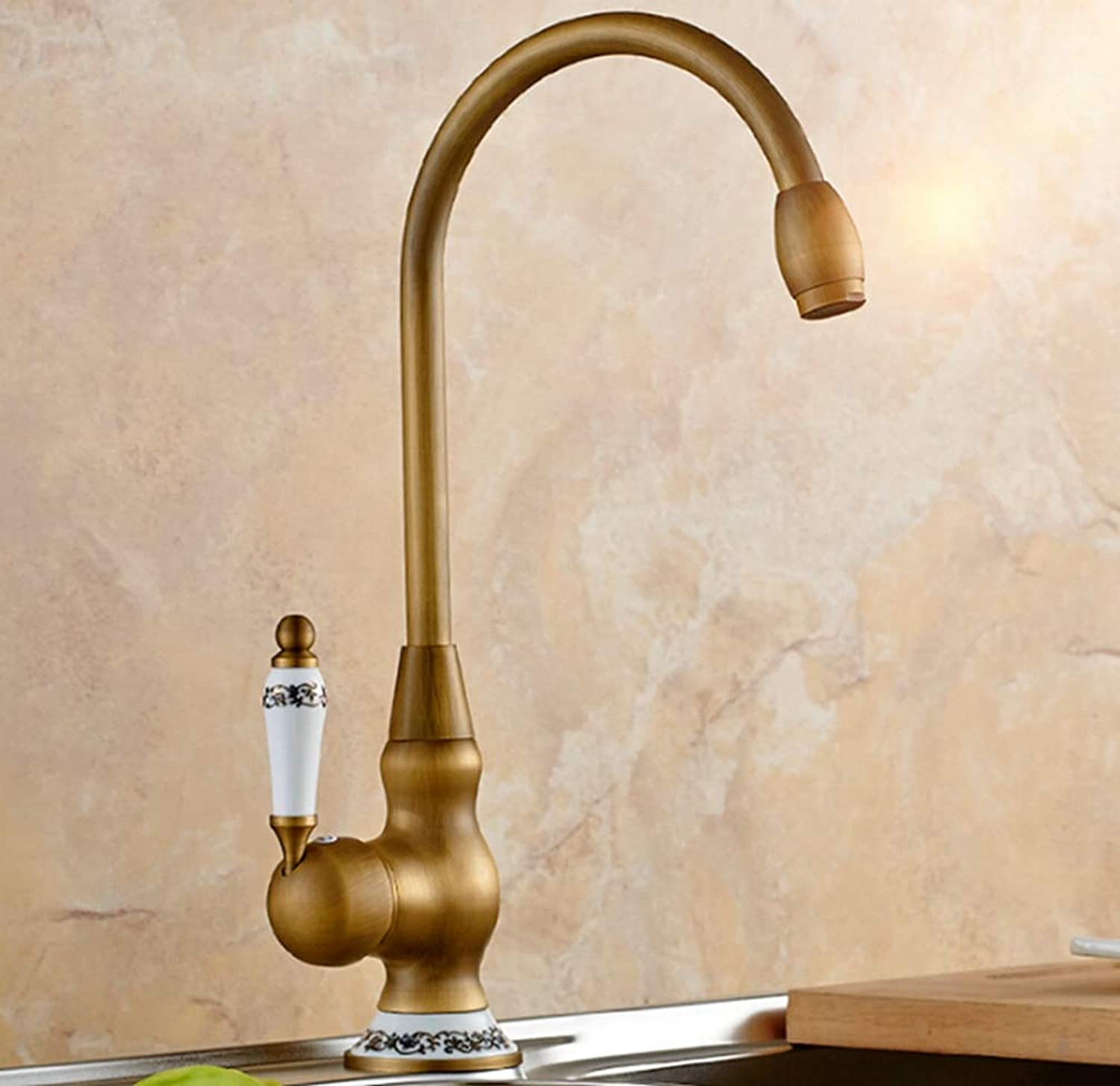 FZHLR Vintage Antique Brass Sink Faucet for Kitchen & Bathroom Kitchen Faucet with Ceramic Handle Water Tap