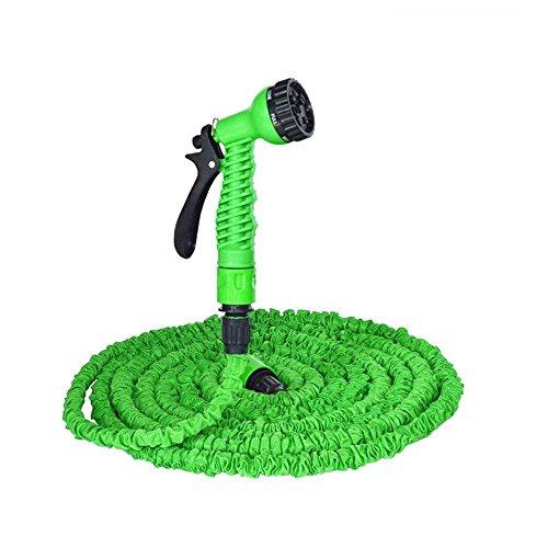 YFZYT 125ft 37.5m Gartenschläuche, Ausziehbarer Schlauch mit 7 Arten Düse, Flexibler Gartenschlauch Ausgedehnt, Wasserschlauch Flexibel, Gartenteichschlauch Dehnbarr - Grün