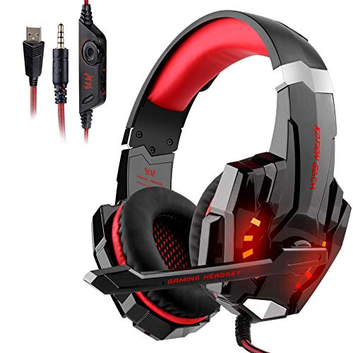 Auriculares Gaming PS4, Galopar Cascos Gaming, Premium Stereo con Microfono Gaming Headset con 3.5mm Jack para PC/Xbox One/Móvil - con Gancho-Rojo