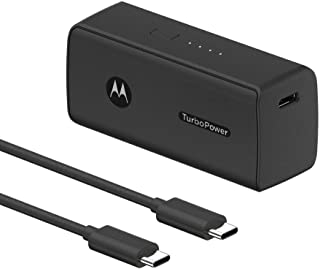 Motorola TurboPower Pack 5000- Ultra Compact, USB-PD and QC3.0 Power Bank for Moto G Power/Stylus/Fast, Razr, Edge/Edge+, ...