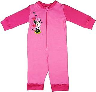 Babybogi Minnie Mouse Baby Strampler | Größe 80 86 92 98 Overall | Disney Strampler Pink für Mädchen | Baby Schlafanzug Langarm Pyjama