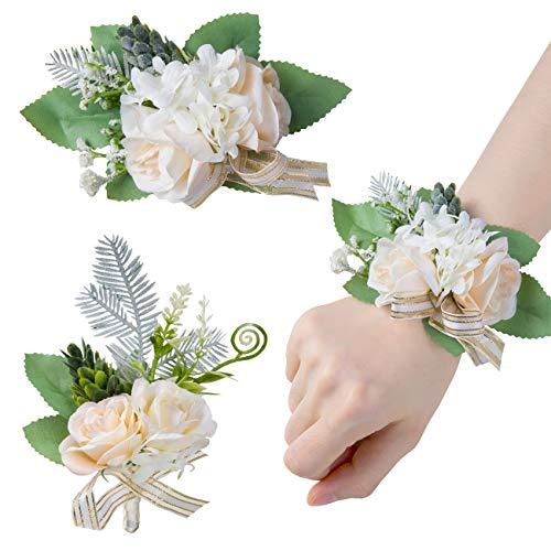 GWHOLE Kit de 2 Adornos Boda Ramillete de Muñeca y Broché con Flores Blanco para Boda Novia Novio, Decoraciones de Baile, Fiestas Graduación