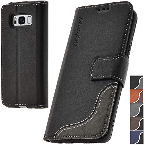 elephones® Handyhülle für Samsung Galaxy S8 Hülle - Kompatibel mit Galaxy S8 Schutzhülle Handy-Tasche Flip Hülle Cover Schwarz
