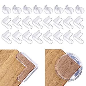 Corner Protector, Godmorn 24Pcs Baby Proofing Corner Guards, Corner Edge Protector for Baby Safety, Clear Table Corner Guards Bumpers for Furniture (L-Shape+Round)