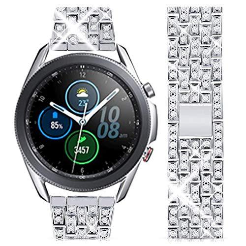 wlooo Diamante Reloj Correa para Samsung Galaxy Watch 3 45mm/Galaxy Watch 46mm, Glitter Bling Watchband Pulsera Hombres Mujeres Cristal Rhinestone Correa Reemplazo Metal Inoxidable (22mm, Plat