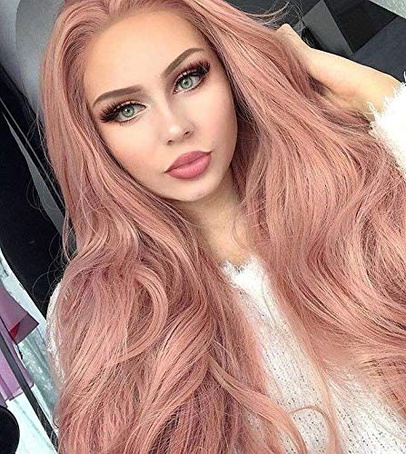 Cosswigs Long Wavy Peach Red Pink Lace Front Wig for Women Glueless Synthetic Pink Wig Heat Ok 24inches