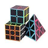 ROXENDA Ensemble Speed Cube, Pyramid 2x2x2 3x3x3 Vitesse Cube de Magique; Autocollant...