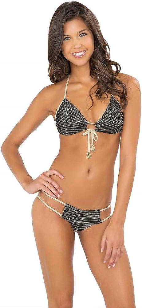 Luli Fama Women's Moon Over Miami Molded Push-Up Halter Bikini Top
