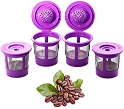 Reusable K Cups Coffee Filter Pod for Keurig 1.0 & 2.0 Machines - K-Cup Refillable Fits K-Duo, K-Classic, K-Elite, K-Select, K-Cafe - 4 Pack Replacement - Universal Fit Most Keurig Brewers