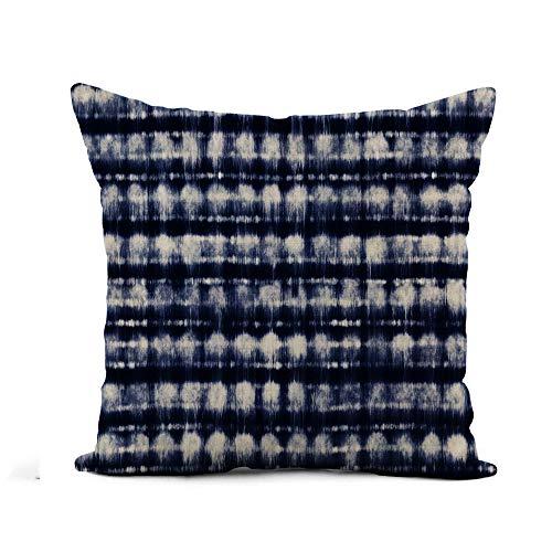 Kissenbezug Dekorativ Blue Dye Abstract Indigo Shibori Striche Navy Tye Muster Größe: 45 x 45 cm