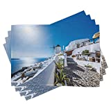 ABAKUHAUS Verano Salvamantel Set de 4 Unidades, El Pueblo de Oia en Santorini, Material Lavable Estampado Decoración de Mesa Cocina, Azul y Blanco