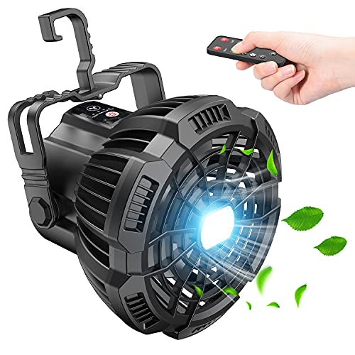 Camping Fan with LED Lantern, 7800mAh Rechargeable Portable Tent Fan with Remote Control, Power Bank, 180°Head Rotation, Perfect Quiet Battery Operated USB Fan for Picnic, Barbecue, Fishing (Black)