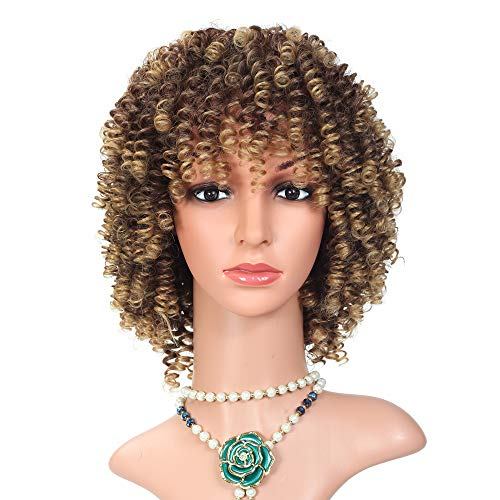12 Inches Short Hair Afro Kinky Curly Wigs Mixed Brown and Blonde Color for Women High Temperature Fiber (T27/33)