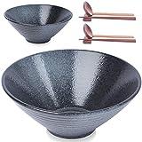 2 Juegos de tazones Grandes de Ramen, 60 oz, tazón japonés de cerámica para Sopa, Fideos, Pho, Udon y Soba, con cucharas, Palillos y Rejillas a Juego, Color Negro