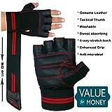 Xtrim Unisex Leather Macho Workout Gloves (Medium, Black)
