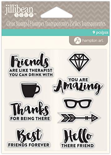 Hampton Art Clear Silicone Stamp Set for DIY Scrapbooking, Making Crafts and Decoration - Friends (9 pcs)