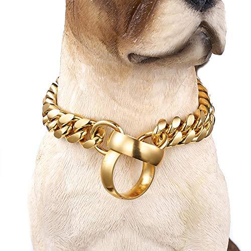 WELBLQ 14mm Edelstahl Hundehalskette Gold poliert Kette Haustier Hundehalsband Ring Halskette-14inches