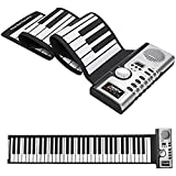 ZHLAMPS Roll Up Keyboard Piano Portable 61 Keys Electronic Digital Hand Roll Piano MIDI Soft Keys for Children Kids Beginners,61Keys