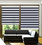 TANZUOER Corded Zebra Roller Shades, Dual Layer Zebra Roller Blinds, Sheer or Privacy Window Shades, Light Control Day and Night Windows Drapes for Living Room Bed Room Kitchen Office, W43 xH64