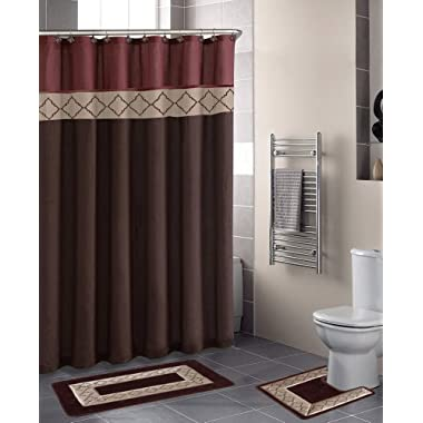 Home Dynamix DB15D-246 Designer Bath Polyester 15-Piece Bathroom Set, Rust/Brown