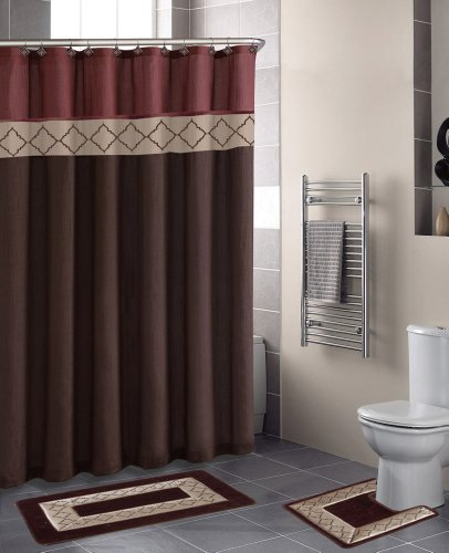 GorgeousHome 15PC Printed Banded Bathroom Rubber Backing Rug Bath Mats Set with Fabric Matching Shower Curtain & Hooks (Dynasty Brown)