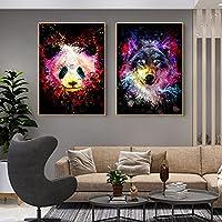 パンダウルフグラフィティポスターカラーアニマルウォールアート人気のキャンバスペインティングモダンドームルームインテリアホームウォールデコレーション画像40x60cmx2フレームなし